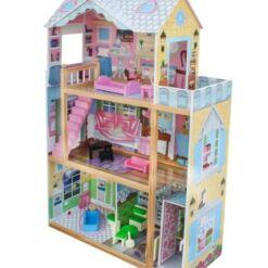 בית בובות לילדות מעץ שלוש קומות דגם אלונה