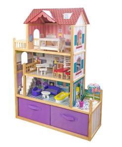 בית בובות לילדות מעץ שלוש קומות וחצר דגם ספיר