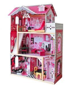 בית בובות לילדות מעץ שלוש קומות וקומת גג, דגם פרובנס