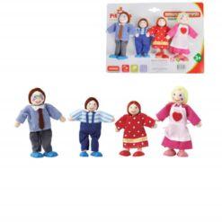 בובות עץ לבית בובות משפחה הכולל אמא, אבא, בן ובת