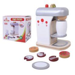 מכונת קפה מעץ מלא לילדים כולל סוגי קפה וכוס למטבח לילדים