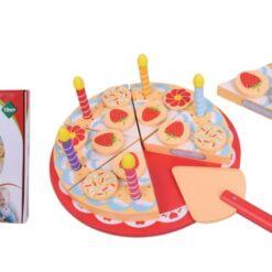 עוגת צעצוע מעץ מלא מהממת מעץ  עם תותים, סוכריות, פרחים ונרות לילדים עבור מטבח לילדים