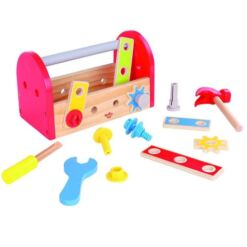 ארגז כלים דינאמי מעץ מלא לילדים הכולל פטיש