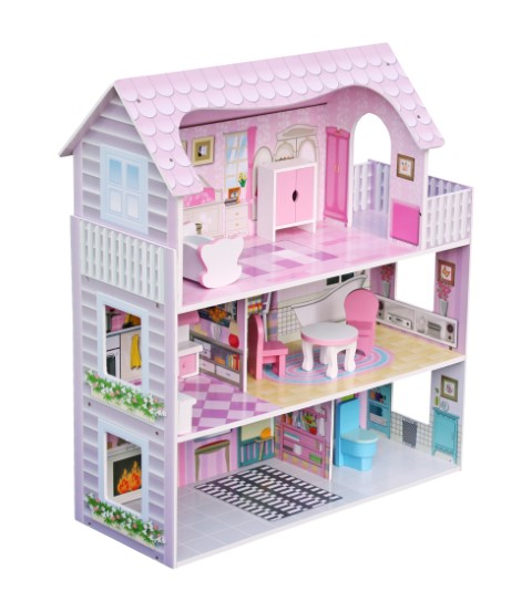 בית בובות לילדים שלוש קומות בצבעים בהירים כולל ריהוט לבית