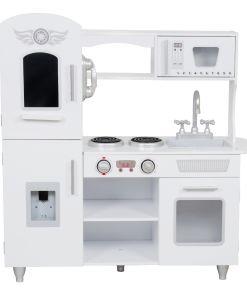 מטבח מעץ בצבע לבן לילדים,דגם אלינור כולל ארון אחסון, טלפון, תנור, מיקרוגל, כיור, מקרר עם בר מים