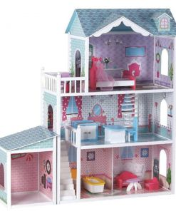 בית בובות מהודר לנסיכה ולנסיך שלוש קומות וחנייה כולל ריהוט מלא לבית