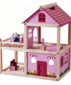בית בובות שתי קומות מעץ מלא