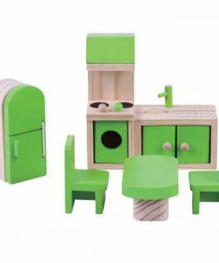 ריהוט מעץ מלא לבית בובות מטבח לבית בובות הכולל מטבח, מקרר, שולחן אוכל וכיסאות