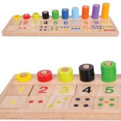 לוח מספרים מעץ, צבעים וכמות ללמידה והתפתחות