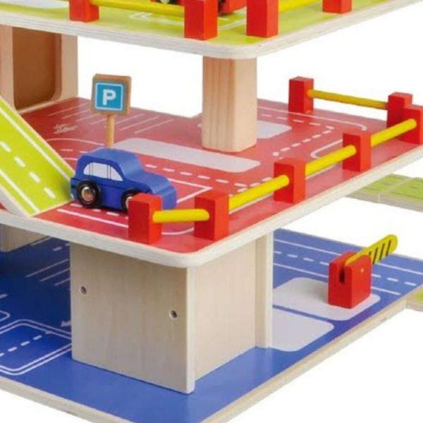 צעצוע מעץ, חניון מעץ מלא למכוניות