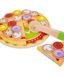 צעצוע מעץ, מגש פיצה מעץ מלא כולל תוספות פיצה מעץ מלא
