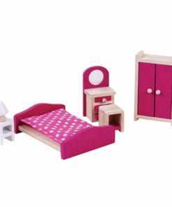 ריהוט מעץ מלא לבית בובות הכולל מיטה, ארון בגדים, שידה ומנורת לילה, שידת איפור וכיסא.אביזרים :ארון בגדיםשידת איפור וכיסאמיטהשידה ומנורת לילה