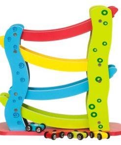 צעצוע מעץ, מגלשת מכוניות מעץ צבעונית כולל 4 מכוניות מעץ.