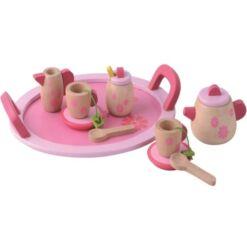 צעצוע מעץ, סט הגשה לתה מעץ מלא כולל קומקום מעץ