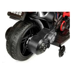 אופנוע ספורט לילדים 6V,  שני גלגלי גומי לאחיזה מושלמת, גלגלי עזר ליציבות מירבית, ידיות אחיזה מגומי.
