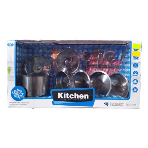 סט סירים מנירוסטה צעצוע מהמם לילדים כולל סיר גדול, סיר קטן, מחבת, מסננת, קערה וכלים