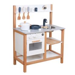 מטבח מהמם מעץ לילדים, דגם ינאי צבע לבן ואפור כולל  כלי מטבח ואוכל, תנור, כיור עם ברז ,כיריים,