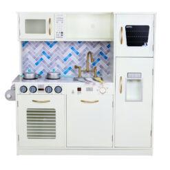 מטבח עץ בצבע שמנת בצבעים מודרניים לילדים דגם אורי כולל מדיח כלים, תנור, מיקרוגל, כיור עם ברז מוזהב,כיריים חשמליים, מקרר עם בר מים