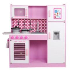 מטבחמפוארמעץלילדים , דגם רון בצבע ורוד, כולל כלי מטבח,מקרר עם בר מים, כיריים, תנור, מיקרוגל, כיור עם ברז