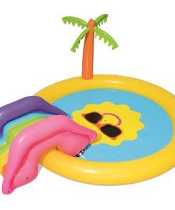מתנפחים, בריכת מים מתנפחת לילדים, בעיצוב של קיץ עם מגלשה