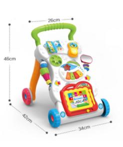 הליכון לתינוק, הליכון אינטראקטיבי מוזיקלי לפעוטות עם ידית אחיזה וגלגלים מונעי החלקה