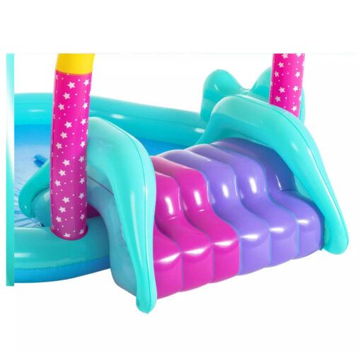 מתנפחים, בריכת מים מתנפחת לילדים, בעיצוב של חד-קרן עם מגלשה