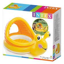 בריכת פעילות מתנפחת לפעוטות, בעיצוב חזי החילזון בצבע צהוב דגם אינטקס 57124 מידות 145X102X74