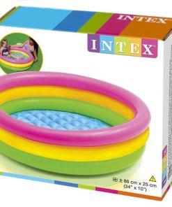 """בריכת פעילות מתנפחת לפעוטות, בעיצוב של גלידה בשלושה צבעים דגם אינטקס 58924 קוטר 86ס""""מ"""