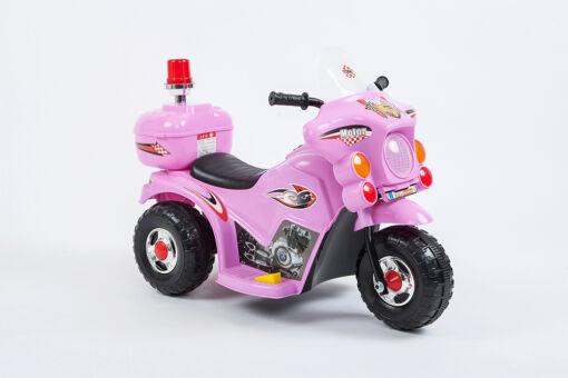 אופנוע ממונע חשמלי 6V לילדים, שלושה גלגלים ליציבות מלאה, כולל תאורה בפנסים.