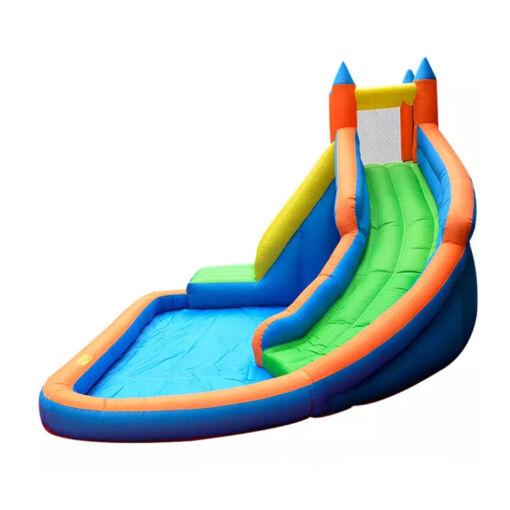 מתנפחים - מתקן שעשועים ופארק מים מתנפח לילדים, בעיצוב של טירה עם קיר טיפוס, בריכה ומגלשת מים