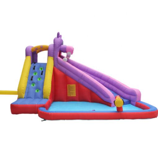 מתנפחים - מתקן שעשועים ופארק מים מתנפח לילדים, בעיצוב היפופוטם צבעוני עם קיר טיפוס, בריכה, מגלשת ותותח מים