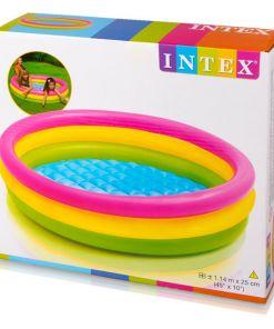 """בריכת פעילות מתנפחת לפעוטות, בעיצוב של גלידה בשלושה צבעים דגם אינטקס 57412 קוטר 114ס""""מ"""