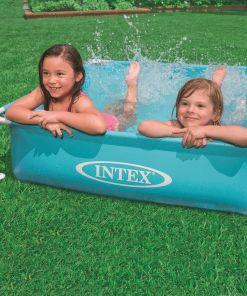 בריכה מרובעת לילדים, בריכה עם צינורות תמיכה דגם אינטקס 57173 מידות 122X122 גובה 30