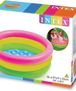בריכת פעילות מתנפחת לפעוטות, בעיצוב של גלידה בשלושה צבעים דגם אינטקס 57107 קוטר 61ס