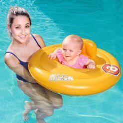 מתנפחים לריכה, הליכון מתנפח עגול לבריכה עם משענת מבית Bestway לשחייה בטוחה