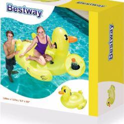 מתנפח לבריכה, בובת ברווז מתנפחת לבריכה עם ידיות אחיזה מבית Bestway