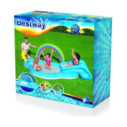 מתנפחים, בריכת מים מתנפחת לילדים, בעיצוב של קיץ עם קשת בענן צבעונית