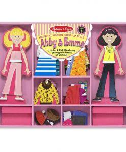 מליסה ודאג - סט משחק הלבשה מגנטי לבובות מעץ - Abby & Emma