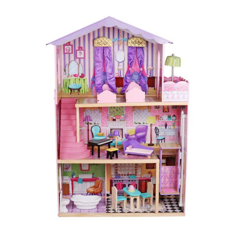 """בית בובות נסיכות שלוש קומות דגם ספירלה כולל מעלית, מרפסת שמש וריהוט מלא, גובה 107 ס""""מ"""
