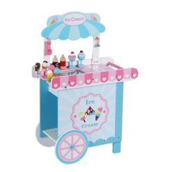 דוכן גלידה מעץ לילדים, כולל 12 אביזרי גלידה, תא אחסון עליון, ידית נשיאה וגלגלים