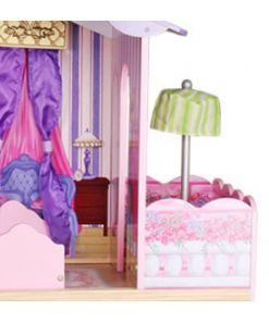 בית בובות נסיכות שלוש קומות דגם ספירלה כולל מעלית, מרפסת שמש וריהוט מלא, גובה 107 ס
