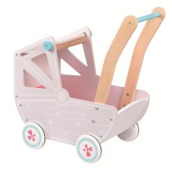 עגלת בובה והליכון מעץ עם גלגלים מונעי החלקה לשיפור מיומנות הליכה של פעוטות בגווני ורוד.