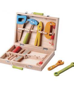 מזוודה כלי עבודה צבעוניים מעץ, הכוללת 12 חלקים