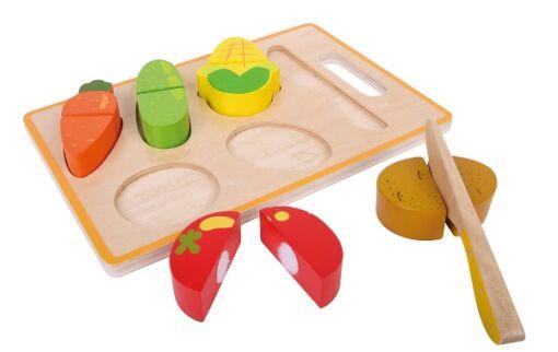 משטח חיתוך ירקות מעץ לילדים הכולל 6 חלקים