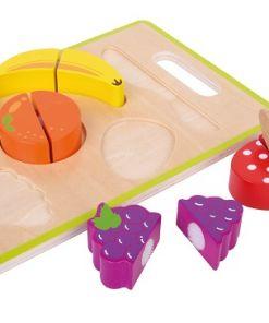משטח חיתוך פירות מעץ לילדים הכולל 6 חלקים