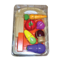 ערכת חיתוך ירקות הכוללת מגש, חותכן מעץ וירקות
