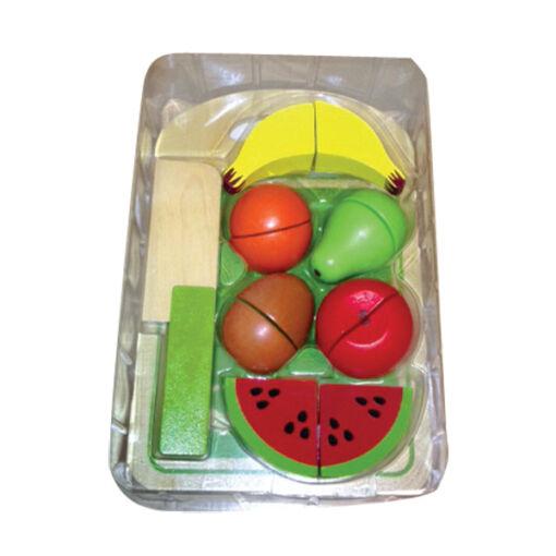 ערכת חיתוך פירות הכוללת מגש, חותכן מעץ ופירות