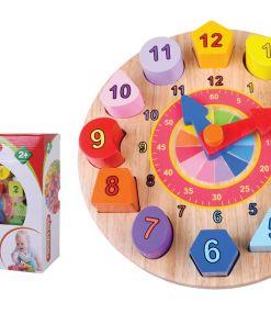צעצוע התפתחות מעץ, שעון התאמת צורות ומספרים צבעוניים, לפיתוח תיאום עין ויד