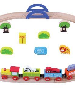 צעצוע מעץ, רכבת העמק הכוללת 24 חלקים, פסי רכבת לחיבור וסביבת גן חיות.