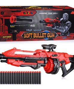 צעצוע רובה לילדים מדגם FJ823 הכולל 20 חצים, ידית אחיזה ותוף לתחמושת ירי רך